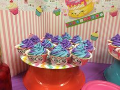 Shopkins themed birthday party. Faces created in MS Word and cut to fit on Wilton cupcake wrappers