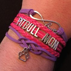 """Pitbull Mom Bracelet Cute bracelet on pink and purple cords handmade by me. This can clasp anywhere from about 7-9 1/2"""". Jewelry Bracelets"""
