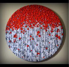 "Original Modern Fine Art 20"" Home Decor, Abstract, Red Birch Tree Acrylic Painting, Heavy Texture Aspen Trees Artwork  by ZarasShop"