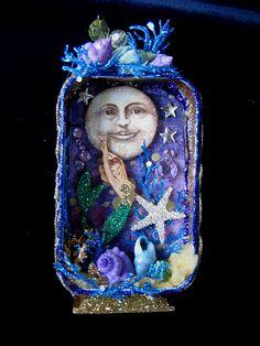 Mermaid Under the Moon - Altered Altoids tin, by fairydustedmermaids