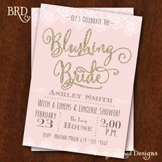 Bridal Shower invitation Blushing Bride by BradfordRoadDesigns, $15.00