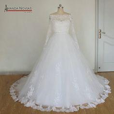 Aliexpress.com: Compre 2015 incrível Amanda Novias vestido de casamento vestido de baile completo manga com cinto NS945 de confiança vestido tema fornecedores em Amanda Novias Wedding Dress Factory