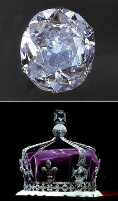 Koh-i-Noor Diamond, a British Crown Jewel.  The Koh-i-Noor is a 106 carat diamond which was once the largest diamond in the world. Previously, it has belonged to various rulers in India; today it lies in the hands of the British royal family and is part of the Crown Jewels.