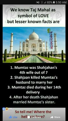 See tajmahal as a wonder not a symbol of love Wow Facts, Real Facts, Wtf Fun Facts, True Facts, Funny Facts, Crazy Facts, Funny Memes, Hilarious, Gernal Knowledge
