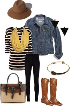 """stripes w jean jacket"" by medboocd ❤ liked on Polyvore"
