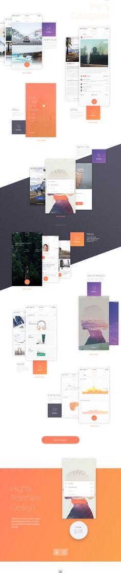 Livo UI KIT is a simple and fully customizable mobile UI Kit. Contain more than 200 screens in 8 categories.http://www.market-me.fr/Livo/