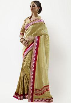 Gold Embroidered Saree at $161.12 (24% OFF)