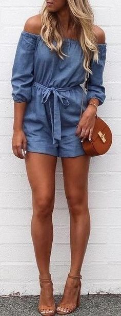 #summer #outfits / chambray romper Mode Outfits, Girl Outfits, Casual Outfits, Fashion Outfits, Womens Fashion, Fashion Trends, Short Outfits, Casual Shorts, Easy Outfits