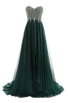 A Line Strapless Sweetheart Long Dark Green Chiffon Beaded Prom Dress - Green Dresses - Ideas of Green Dresses Prom Dresses 2017, Prom Dresses For Sale, Grad Dresses, Ball Dresses, Evening Dresses, Ball Gowns, Beaded Prom Dress, Beaded Chiffon, Pretty Dresses