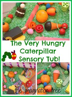 A fun way to retell a favourite story with kids! sensory tubs, tree activities for preschool, craft idea, autism preschool activities, hungry caterpillar, imagin tree, hungri caterpillar, kid, sensori tub