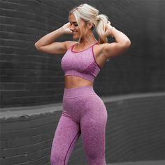 Best Seller Women Yoga Sets Fitness Sport BraYoga Pants Leggings suit Gym Running active wear Sport Set Workout Clothes for Female Running Leggings, Tops For Leggings, Sports Leggings, Women's Leggings, Tights, Top Fitness, Sport Fitness, Fitness Women, Female Fitness