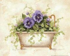 Annie LaPoint                                                                                                                                                                                 Más Decoupage Vintage, Decoupage Paper, One Stroke Painting, Watercolour Painting, Vintage Frames, Flower Images, Flower Art, Bathroom Pictures, Bathroom Art