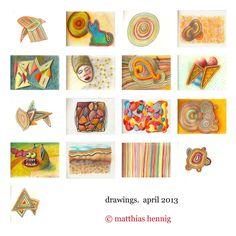 drawings, april 2013, ©matthias hennig 2013, 21 x 15 cm each, www.matthiashennig.de #drawing #color #matthias #hennig