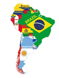 A Bar Crawl Through South America - The Best Latin & Spanish Food Articles & Recipes - Amigofoods Latin America Map, South America Map, Tema Power Point, E Bible, American Cocktails, Countries And Flags, Theme Nature, Flag Vector, Flags Of The World