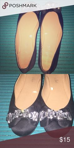 Black flats with jewel accents Cute black flats from charming Charlie's. Worn only once. Shoes Flats & Loafers
