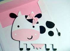 Cow Shaped Card - Cow - Black and White Cow - Cut Out Card - Cards for Kids - Farm Babies on Etsy, $6.00