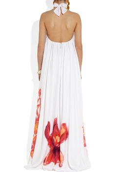 Love the back! Issa|Printed silk halterneck gown|NET-A-PORTER.COM
