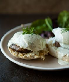 Sausage and Eggs Benedict with Mock Hollandaise Sauce via @Angie Wimberly Wimberly McGowan (Eclectic Recipes)
