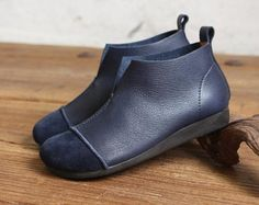 Handmade Women ShoesOxford Shoes Flat Shoes Retro Leather