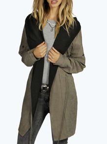 $30 Size: M - Khaki Hooded Drawstring Pockets Coat