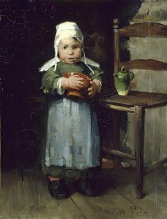 """Helene Schjerfbeck, Tyttö ja ruukku, 1881 - Helene Schjerfbeckin tuotanto on jaettu kolmeen kauteen.Nuoruuden kausi,joka osuu 1880-luvulle,Schjerfbeck luonnehti itse:""""Nuorena maalasin ajatuksitta,vaistomaisesti-sitten tuli väsymys.Italian-kautenani pyrin yksinkertaisuuteen,mutta vain esikuvien mukaan,en sisäisesti."""" Italian-kausi sijoittui 1890-luvulle.Schjerfbeck itse piti vasta viimeisen kautensa tuotantoa oman sisäisen vaatimuksensa mukaisena."""