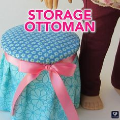 Free doll craft project! Make a charming storage ottoman for your 18 inch doll! DIY tutorial using a yogurt container and fabric scraps. Find more tutorials at PixieFaire.com