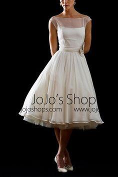 Retro Modest 50s 60s Short Tea Length Wedding Dress