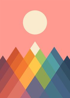 'Rainbow Peak' Poster by AndyWestface - Clinic Office - Rainbow Painting, Rainbow Art, Art And Illustration, Ouvrages D'art, Barn Quilts, Art Abstrait, Art Design, New Wall, Geometric Art