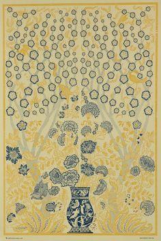 Italian Block Print Blue & Yellow Vase