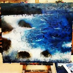 My painting based on David Tress! A painting of the sea! #davidtress #sea #painting