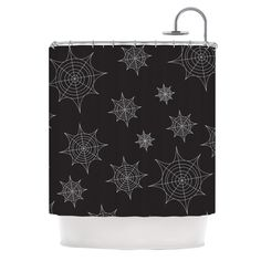 "KESS Original ""Mini Webs Black"" Shower Curtain"