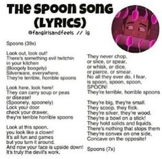 The spoon song Lyrics. :) From the Adventurous Adventures of One Direction 2! (AAoOD 2) It's gotta be one of the most amazing videos on Youtube. If you haven't seen it, check it out!