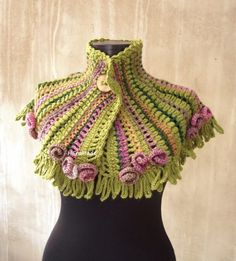 Spring boho fairy crochet collar scarf neckwarmers, HEraMade (1)