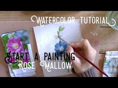 (1010) Behind the scenes, Starting a new painting: Rose Mallow - YouTube