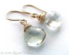 Green Amethyst earrings - luxe drop dangle Eco-Friendly 14k gold-filled mint aqua prasiolite gemstone jewelry design gift bridesmaid. Luxurious plump green amethyst gemstones (also known as prasiolite) are generously wire-wrapped and hung from handmade ear wires. All metal used is 14k gold-filled - not plated!