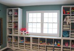 Playroom storage shelves- Ikea Kallax - cubbies- striped bins - Land of Nod