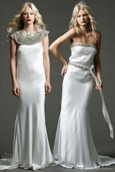 """Lila II - heavy silk gown with exclusive hand beaded """"Lancaster"""" shoulder cape; Lila - heavy silk column gown with exclusive hand beaded neckline and silk belt detailing from Johanna Johnson Australia 2011 bridal collection"""