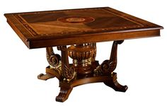 11 Luxury square dining table. Exquisite marquetry