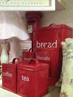 Red Kitchen Storage Tins for Tea, Coffee, Sugar, Biscuits & Bread.