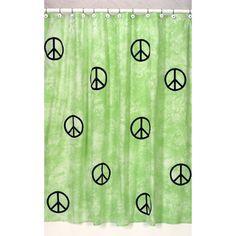 Sweet Jojo Designs Lime Groovy Peace Sign Tie Dye Shower Curtain By Sweet  Jojo Designs