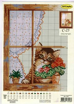 Kitten in the Window Cat Cross Stitches, Cross Stitch Bird, Cross Stitch Animals, Cross Stitch Charts, Cross Stitch Designs, Cross Stitching, Cross Stitch Embroidery, Embroidery Patterns, Cross Stitch Patterns