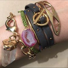 Agate Druzy Macrame Cord Bracelet - Gold Plated
