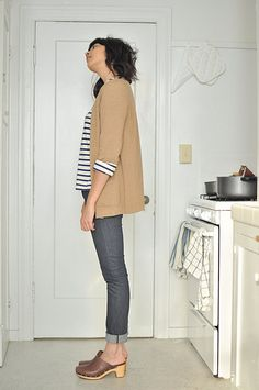 thrifted cardigan saint james striped shirt april 77 jeans ugg abbie clogs