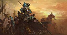 Illustration inspired by the Tomb Kings faction. Warhammer Tomb Kings, Warhammer Art, Fantasy Story, High Fantasy, Egypt Design, Warhammer Fantasy Roleplay, Age Of Sigmar, Goddess Art, Necromancer