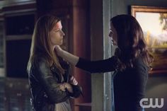 "The Vampire Diaries -- ""Day One of Twenty-Two Thousand, Give or Take"" -- Image Number: VD701c_0082.jpg -- Pictured (L-R): Elizabeth Blackmore as Valerie and Annie Wersching as Lily -- Photo: Bob Mahoney/The CW -- © 2015 The CW Network, LLC. All rights reserved."