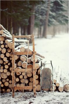 Stack of firewood in the snow. #winter