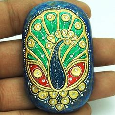 450ct Finest Mughal Art Peacock Painting Embedded Zircon Natural Lapis Lazuli