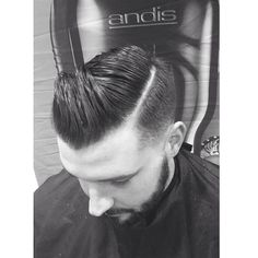 Men's Haircut with pompadour and shaved part by Jessica Zeinstra for Andis