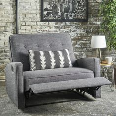 Oversized recliner without being too chunky Calliope Buttoned Fabric Recliner Club Chair by Christopher Knight Home (Muted Blue + Black), Size Oversized Living Room Furniture Sale, Living Room Chairs, Furniture Deals, Home Furniture, Online Furniture, Chairs Online, Furniture Cleaning, Living Room Seating, Plywood Furniture