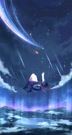 kimi_no_na_wa landscape miyamizu_mitsuha nineninnne seifuku Kimi No Na Wa, Film Anime, Manga Anime, Sky Anime, Your Name Anime, Anime Galaxy, Japon Illustration, Anime Scenery, Fantasy Landscape